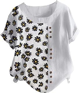 TIFIY Maglietta da Donna a Maniche Lunghe in Cotone e Lino con Cucitura a Maniche Lunghe Elegante Sexy Casual Tops Blusa T...