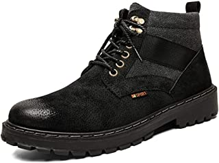 Sunny&Baby Motocycle Combat Boots for Men Ankle Shoes Lace Up PU Leather Burnished Style Weave Shoelaces Experient Sewed Breathable Lined Durable (Color : Black, Size : 8 UK)