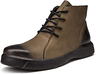 SHENYUAN Men's Ankle Boots Round Toe Faux Fleece Inside Outsole Leisure Shoes Work or Casual Wear Conventional Optional) (Color : Khaki, Size : 43 EU)