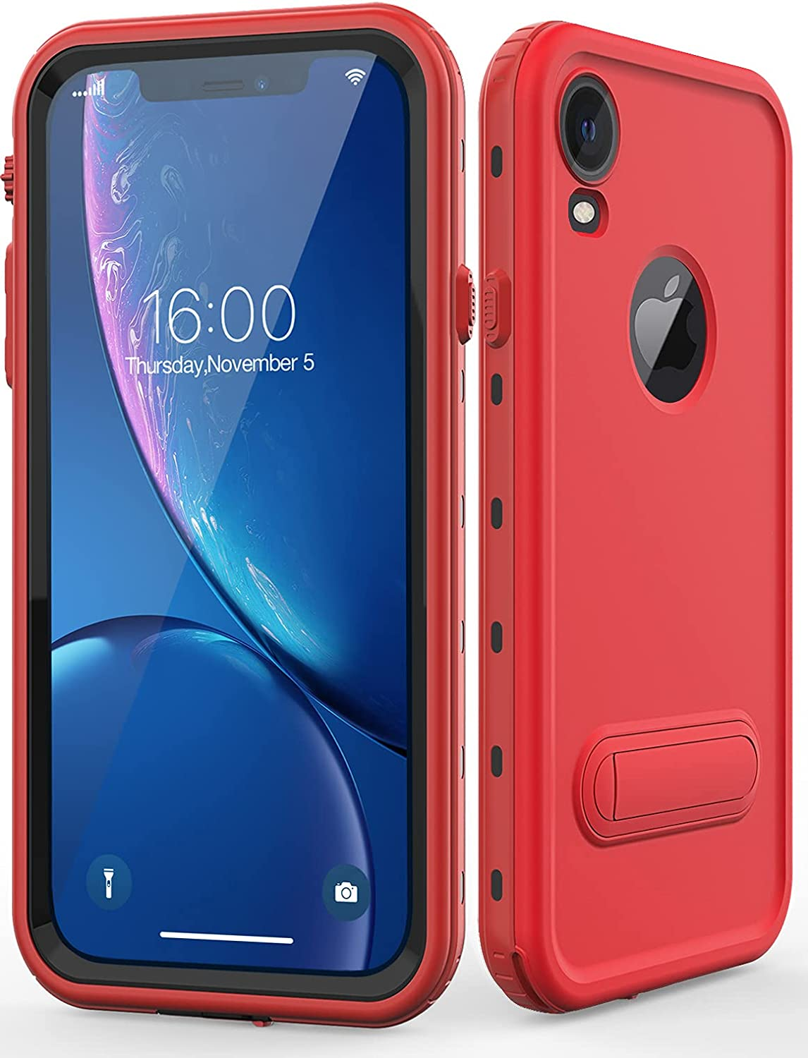 Diverbox for iPhone xr Case Waterproof,Shockproof Dustproof IP68 Full-Body Sturdy with Kickstand Case Built-in Screen Protector,Underwater Full Sealed Cover Protective for iPhone xr (Red)