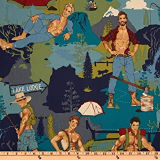 Alexander Henry Pin Ups The Outdoorsy Type Teal Fabric By The Yard