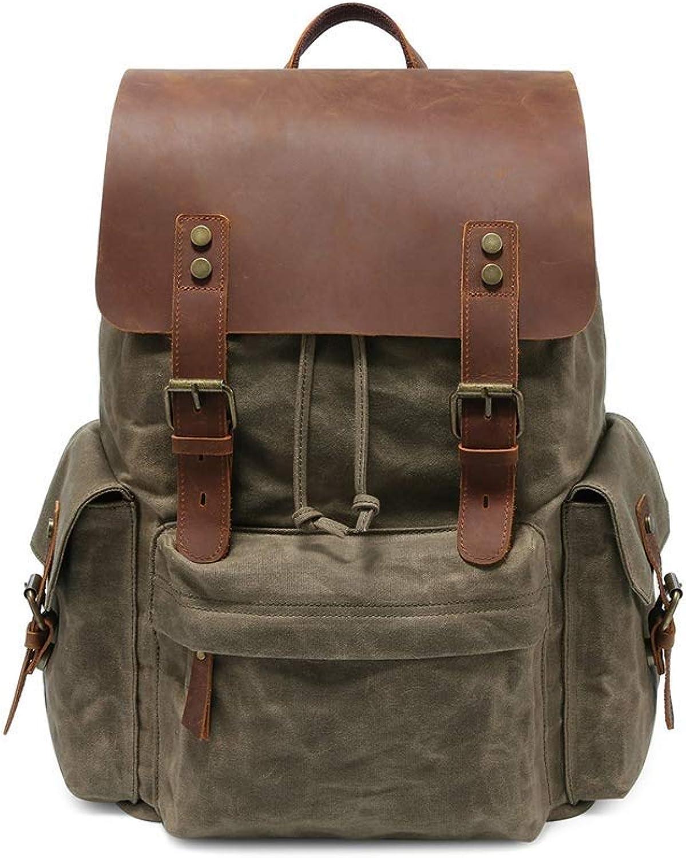 Vintage echtes Leder Canvas Rucksack, lssig Rucksack College Bag Satchel Wandern Travel Daypack Laptop Rucksack (Farbe   Armeegrün)