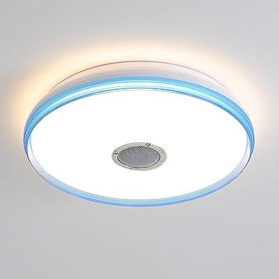luz ambiental RGB regulable cambio de color 6500 K estrellas blanco c/álido y fr/ío L/ámpara LED de techo con mando a distancia MP3 24 W 2800 control de aplicaci/ón y altavoz Bluetooth