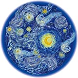Bgraamiens Puzzle-Starry Starry Night-1000 Pieces Creative Round Blue Board Jigsaw Puzzles Inspired by Van Gogh