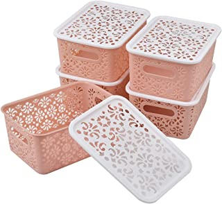 5Pcs Paniers de Rangement avec Couvercles en Plastique, Boîtes de Rangement avec Trous Organisateurs de Rangement avec Poi...