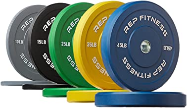 Rep Fitness Colored Bumper Plates for Strength and Conditioning Workouts and Weightlifting, 1-3 yr Warranty, No Odor
