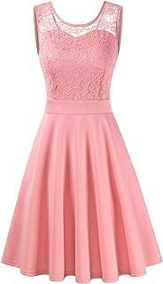 kleid rosa Clearlove Damen Kleider Elegant Spitzenkleid 3/4 Ärmel Cocktailkleid Rundhals Knielang Rockabilly KleidVerpackung MEHRWEG