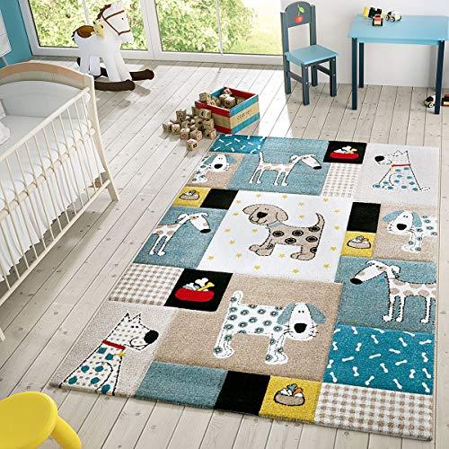 T & T Design kindertapijt, modern speeltapijt, honden, ruiten, pasteltinten in blauw beige