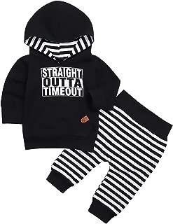 TUEMOS Newborn Toddler Baby Boy Girl Clothes Long Sleeve Hoodie Sweatshirt Striped Pants 2Pcs Outfit Set
