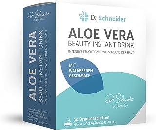 Dr.Schneider Aloe Vera Beauty Drink. tabletas efervescentes. veganas. sin azúcar. con biotina. niacina. ácido pantoténico y vitamina A. conocidas en la televisión alemana