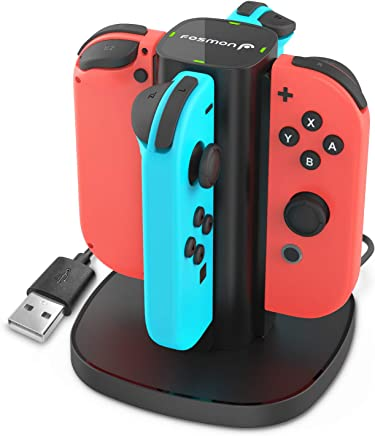 Charging Dock Compatible with Switch, Fosmon 4-in-1 Joy-Con Charging Station Stand with LED Indicators compatible with Nintendo Switch Joy Con Controllers Charger - Black