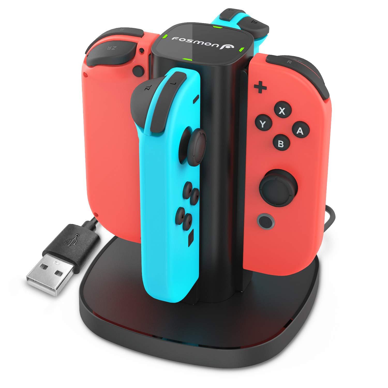 Fosmon Nintendo Switch Joy-con Base de Carga, Cargador 4 en 1 de Alta Velocidad con Indicadores LED para Controladores Joy con y Nintendo Switch Joy-con (versión inalámbrica de Cambio Solamente): Amazon.es: Electrónica