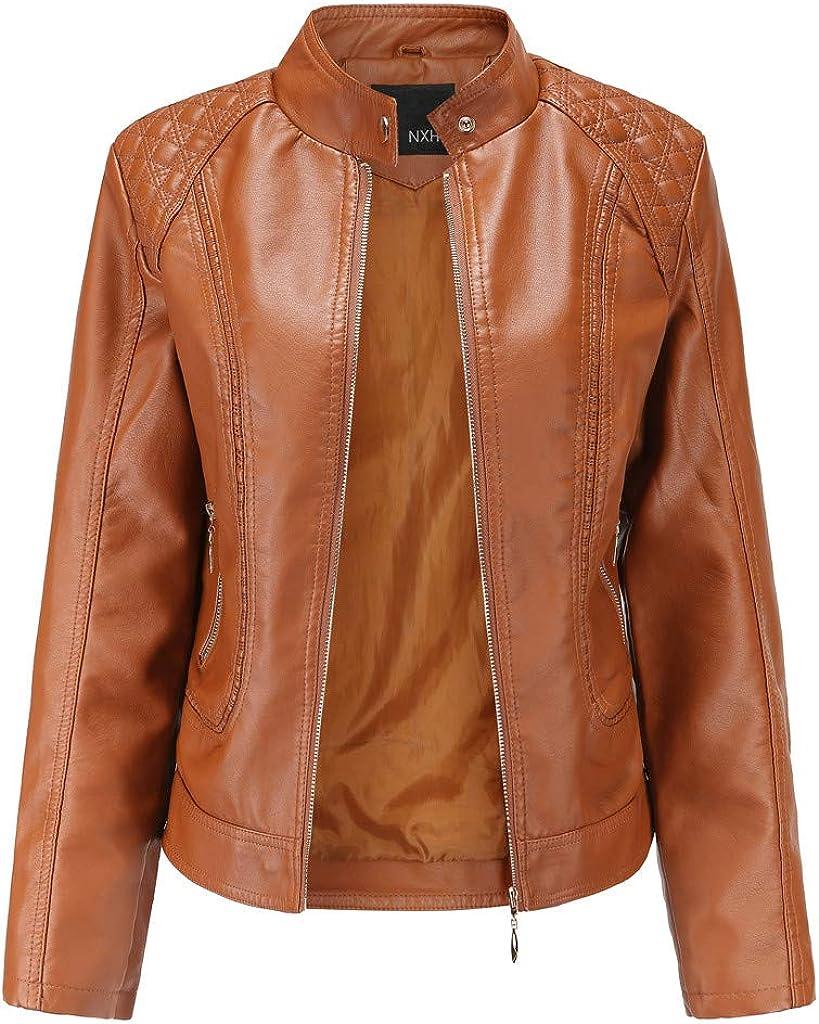 HENWERD Women's Faux Leather Short Moto Jacket Zip-up Slim PU Biker Coat with Pockets Casual Short Coat Outwear