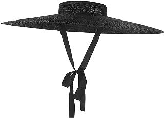 أسود واسعة بريم شقة الأعلى القش قبعة الصيف القبعات للنساء الشريط شاطئ كاب متنقرة قبعة الشمس المألوف مع حزام الذقن