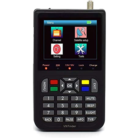 ZHITING-Satellite Finder Medidor de señal satelital, IBRAVEBOX V9 Finer HD Digital Satellite TV Finder con MPEG-2 / MPEG-4, Medidor de señal satelital digital con pantalla LCD a color de 3.5 pulgadas
