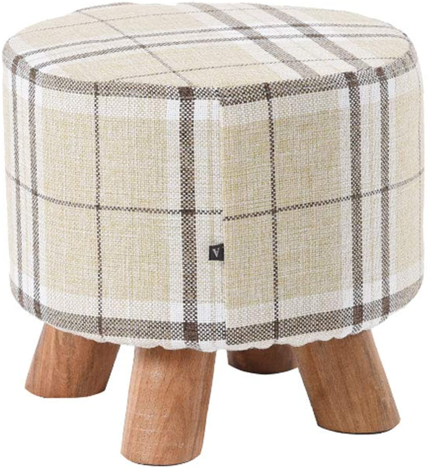 Solid Wood Stool, Home Round Fabric Sofa Stool Living Room Low Stool Change shoes Bench Wooden Leg Footstool (color   Striped Lattice)