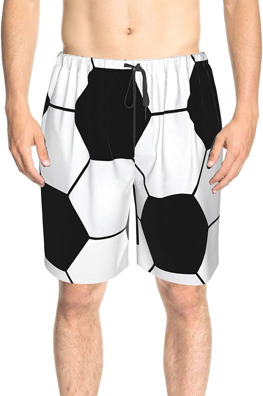 Men's Swim Shorts Soccer Ball Pattern Swim Boardshorts Drawstring 3D Printed Swimwear Beach Shorts with Lining