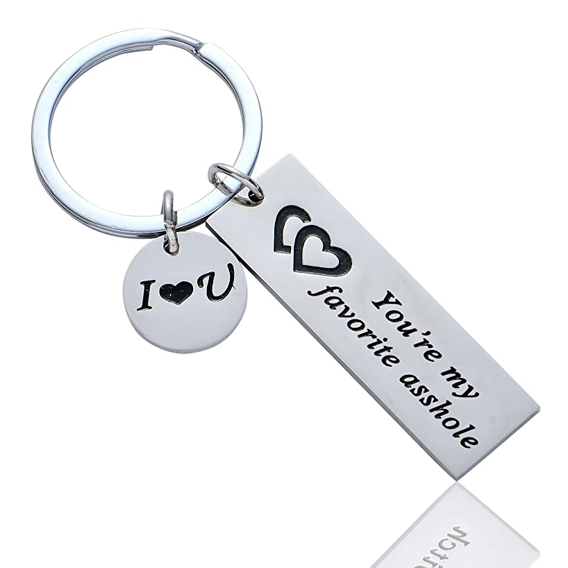 BESPMOSP Funny Couple Keychain You're My Favorite Asshole Bitch Jewelry Valentines Day Gift for Her Girlfriend Boyfriend Husband Keyring (Asshole)