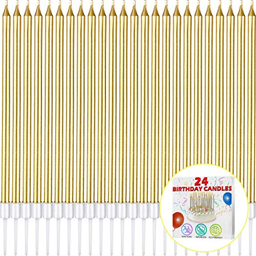 Long Gold Birthday Cake Candles – Party Delight Candles – Cake Decorations – 6 Inch Birthday Candles – 24 PCS Long Birthday Cake Candles