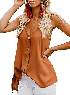 Rookay Women's V Neck Button Down Camisole Adjustable Spaghetti Strap Loose Tank Top Chiffon Sleeveless Shirt