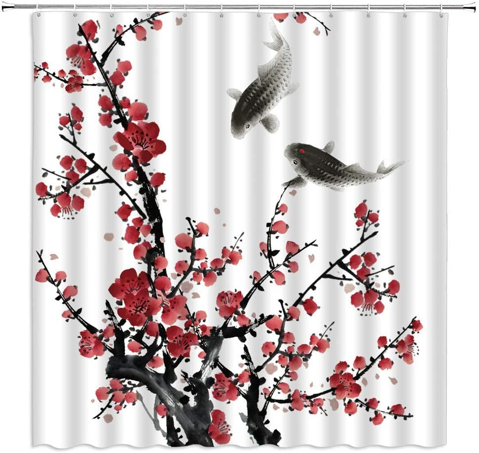 Water Ink Painting Shower Curtains Plum Classical Chinese Selling and selling depot Style
