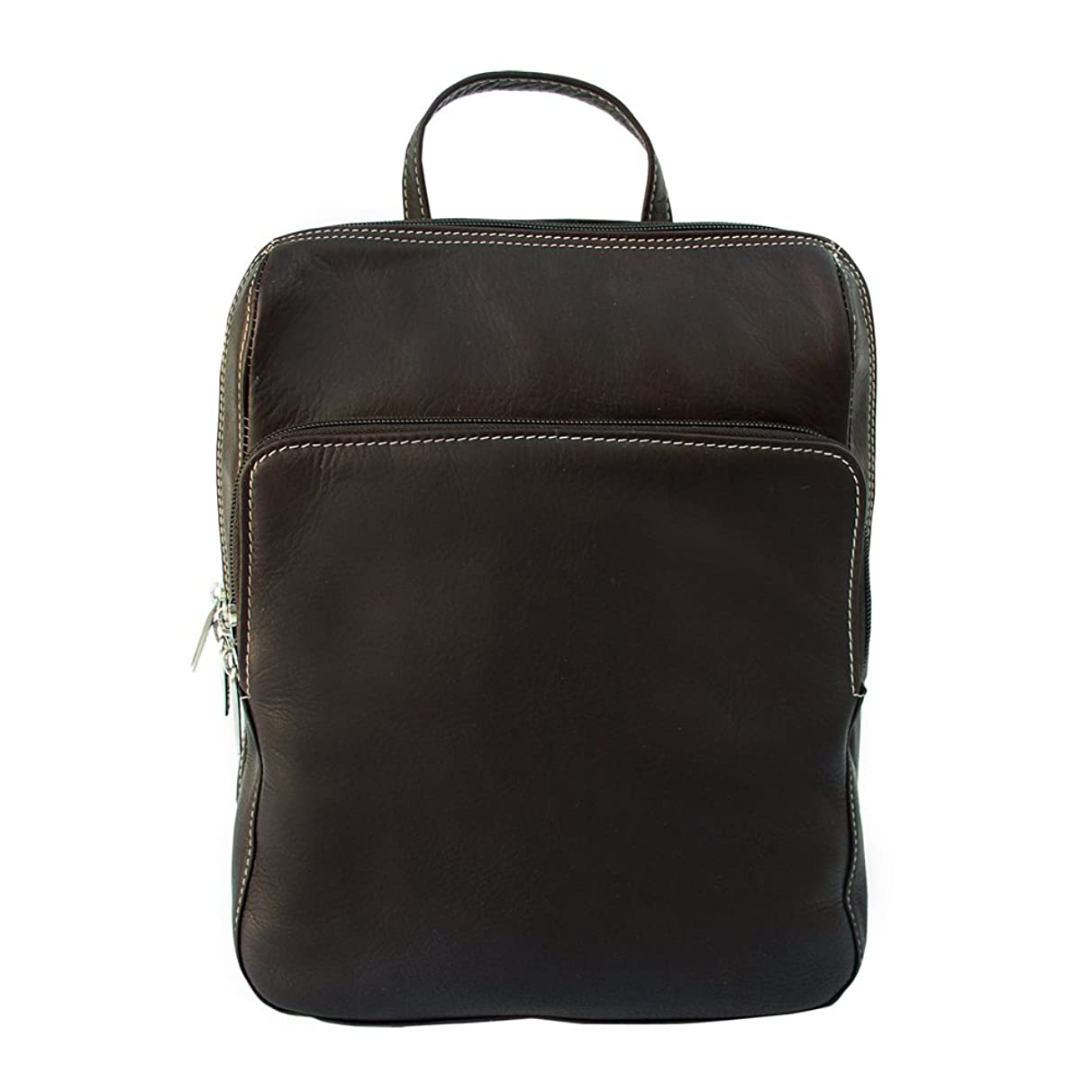 Piel Leather Slim Front Pocket Backpack, Chocolate, One Size
