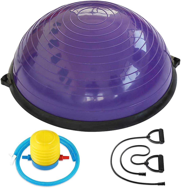 ALTINOVO Half Ball Balance Trainer, Stabilitts-Yoga-übungsball mit Widerstandsstreifen und Pumpe Anti-Rutsch-Oberflche Fitness-Krafttraining,lila