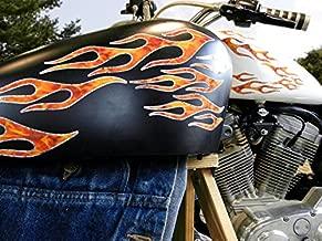 No.28 - 28piece set - True Fire/Silver Foil - Old School Flame decals for MotorCycle tank, fenders, helmet