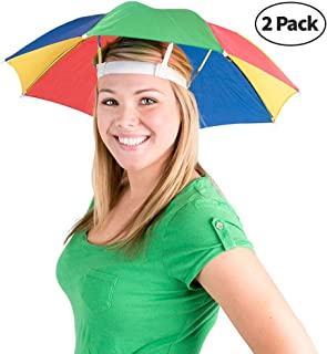 Umbrella Hat (Pack of 2) - 20 Inch, Hands Free, Funny Rainbow Colorful Beach Party Hats, Adjustable Size Fits All Ages, Kids, Men & Women