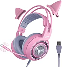 SOMIC G951pink Gaming Headset for PC, PS4, Laptop: 7.1 Virtual Surround Sound Detachable Cat Ear Headphones LED, USB, Ligh...