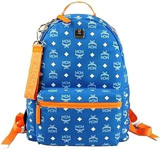 MCM Women's Blue Nylon Medium Backpack With White Logo Print MMK9SRA01HI001