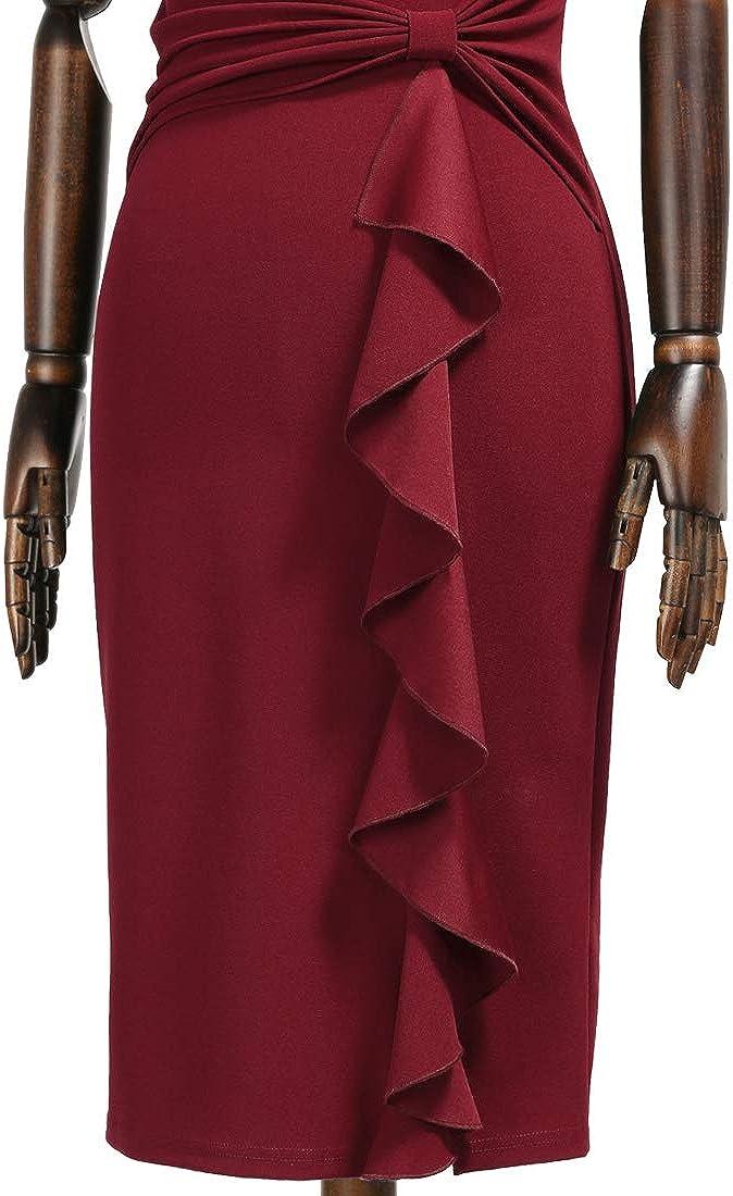 MIUSOL Women/'s Retro Pencil Ruffle Frill Formal Party Dress