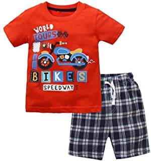 Yilaku Little Boy Clothes Tops and Shorts Sets Cartoon Short Sleeve T-Shirts Kids Summer Clothing