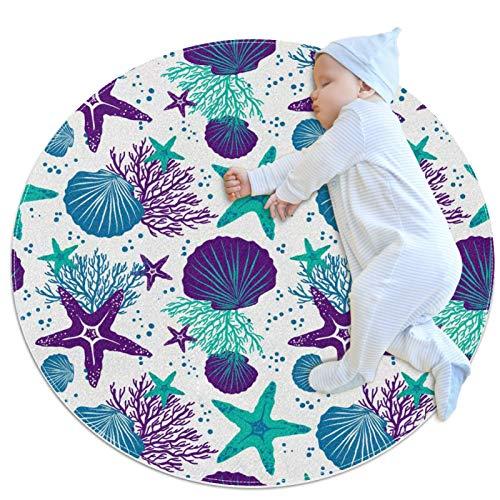 Yumansis Alfombra decorativa sala de estar ronda alfombra chica yoga alfombra lavable sala de estar alfombra, colorido patrón coral vida marina