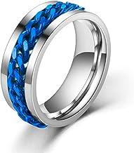 Punk Titanium Rvs Ketting Spinner Ring Voor Mannen Blauw Goud Zwart Rock Ringen Accessoires Sieraden Gift