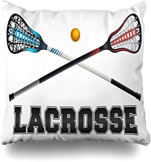Ahawoso Throw Pillow Cover Crossed Badge Word Lacrosse Sticks Ball Sports Sport Recreation Competition Copy Copyspace Emblem Home Decor Pillowcase Square Size 16 x 16 Inches Zippered Cushion Case