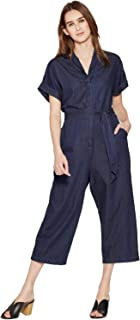Mossimo Women's Short Sleeve Tie Waist Jumpsuit (Blue, M)
