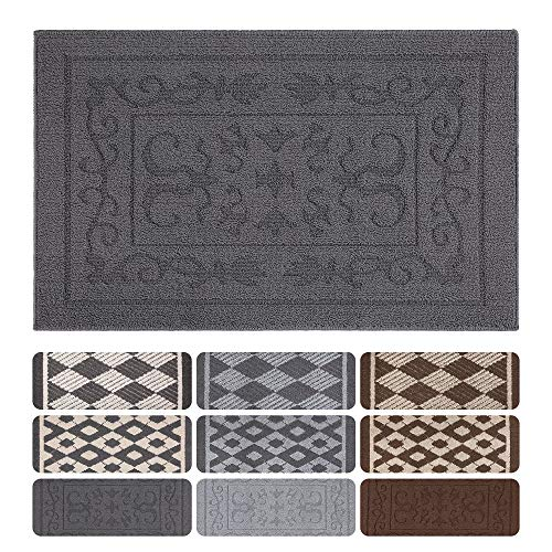 Mejor Maples Rugs Rebecca Contemporary Kitchen Rugs Non Skid Accent Area Carpet [Made in USA], 2'6 x 3'10, Grey/White crítica 2020