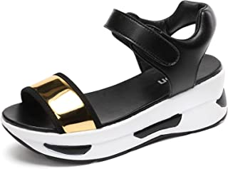 Dames Open teen Platform Wedge Sandalen Casual Klittenband Enkelband Mid Heel Slingback Zomer Strandschoenen