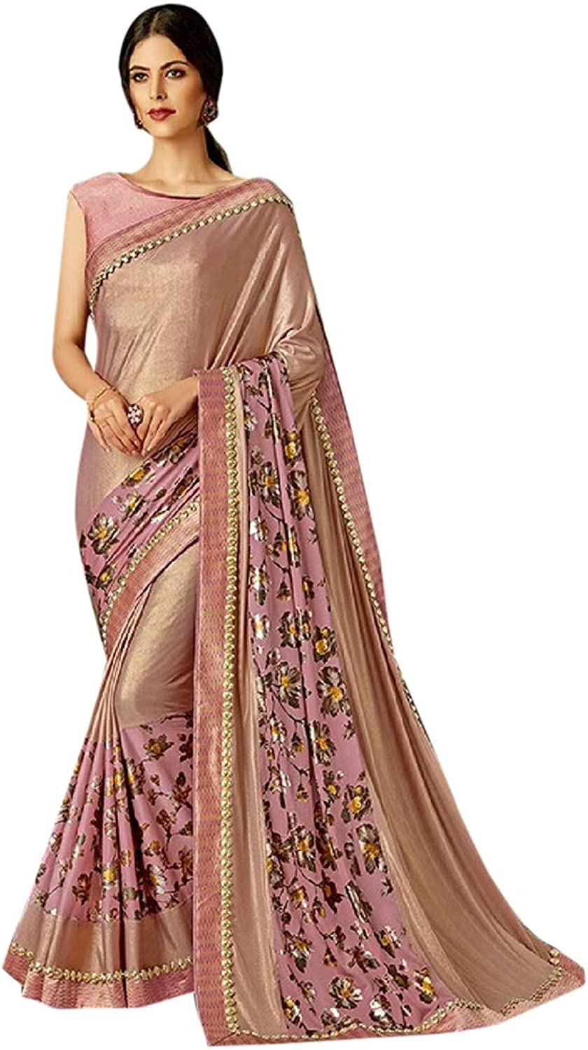 Indian Ethnic Floral Gorgeous Lycra Saree With Blouse Hit Designer collection Party wear 7145