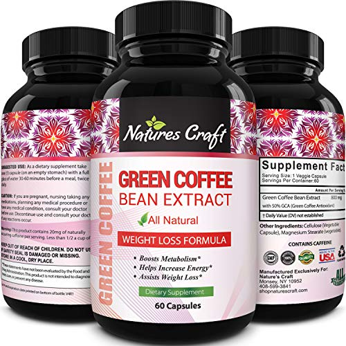 Pure Green Coffee Bean Extract Supplement – Best For Weight Loss Appetite Suppressant – 800 mg with Chlorogenic Acid Best Energy Booster Advanced Natural Potent Formula – 60 Capsules