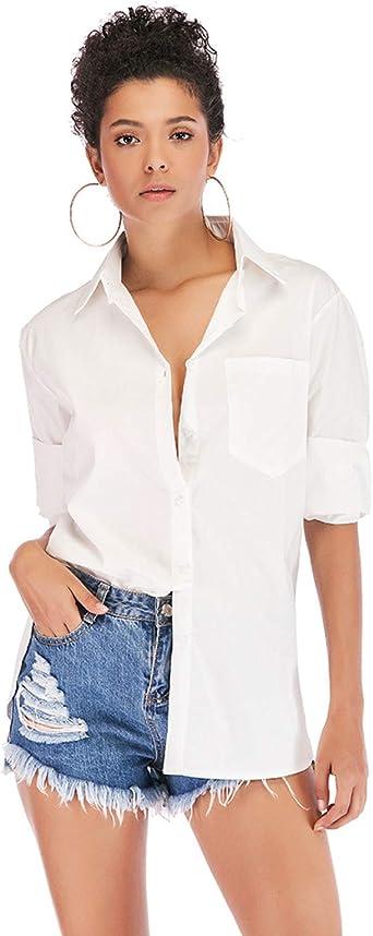Camisa Blusa Suelta de Manga Larga Blanca: Amazon.es: Ropa y ...