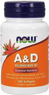 Now Foods La vitamina A y D. 10000/400 UI - 100 cápsulas 100 Unidades 200 g