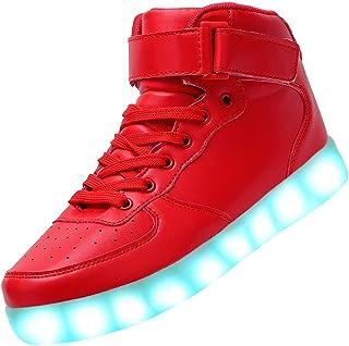 PADGENE LED Chaussures Baskets pour Unisex, Chaussures de Sport Homme Femme Montantes Basket Mode à LED Lumière Rechargeab...