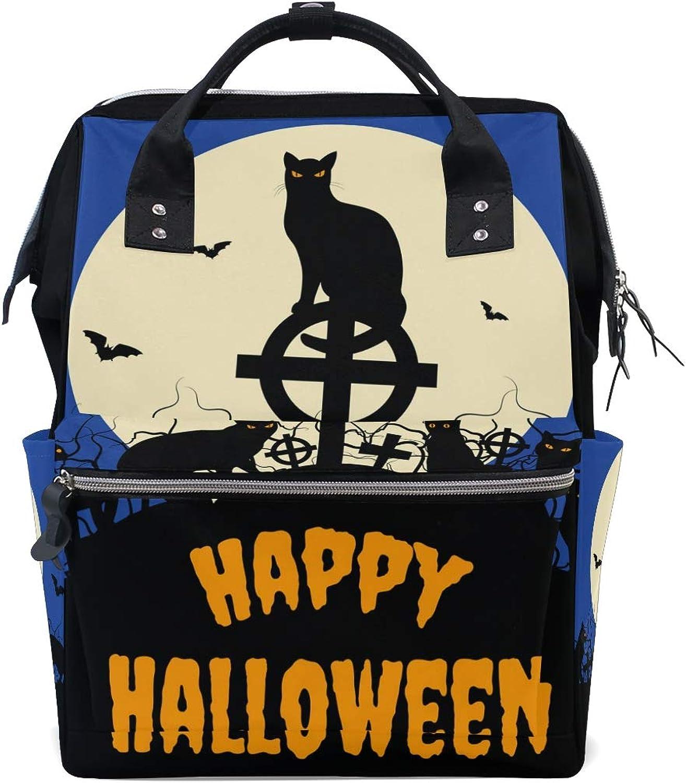 DEZIRO Canvas Halloween Black Cats and Full Moon School Pack Backpacks Travel Bag