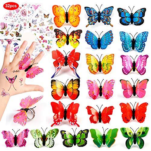 HOWAF 20 stücke Schmetterling Mädchen Ringe und 12 Blatt Kinder Schmetterling Taoos Set, Einstellbare Ringe für Kinder Spielen Mitgebsel Kindergeburtstag gastgeschenke deko