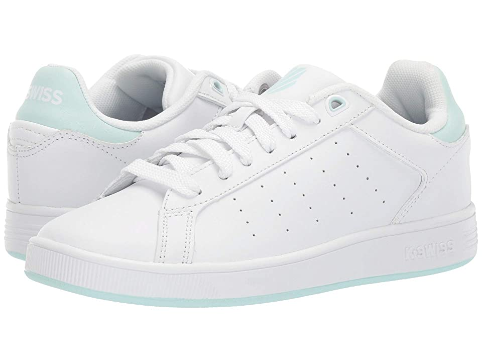 K-Swiss Clean Court (Big Kid) (White/Soothing Sea) Shoes