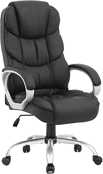 BestOffice Office Chair Desk Ergonomic Swivel Executive Adjustable Task Computer High Back Chair With Back Support In Home 1 Black Renewed