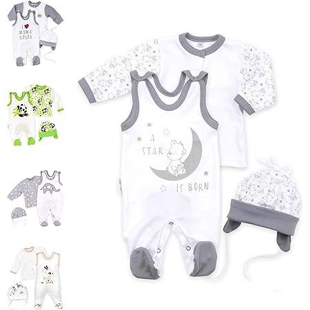 Makoma 100/% Baumwolle Baby Strampler Set mit Langarm Shirt M/ädchen und Jungen Erstausstattung f/ür Neugeborene Teddyb/är
