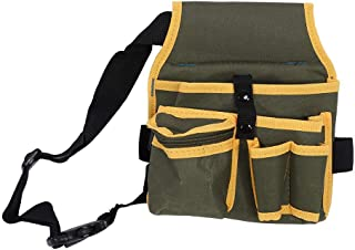 Utility Multiple Pockets Canvas Tool Pouch Waterproof Gardening Tool Organizer Storage Bags with Adjustable Waist Strap